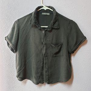AEO short sleeve chambray shirt